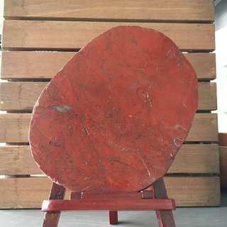 Sliced red jasper stone with stand