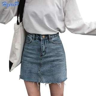 #SINGLES1111 Fashion High Waist Denim Mini Skirt