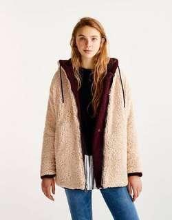 Pull and Bear Reversible Shearling Jacket Fleece Hoodie Teddy Coat Medium Burgundy & Cream M/L RARE!