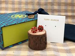 Tory Burch Red Stud Logo Flower Resin Earrings