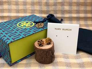 Tory Burch Tortoise Stud Logo Flower Resin Earrings