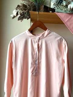 Mandarin pink collar long sleeve blouse