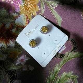 Silver crystal ear studs