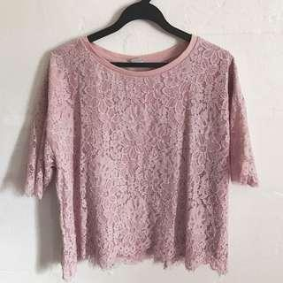 (PLUS SIZE) IORA Pink Lace Top