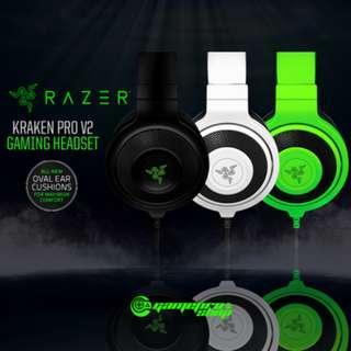 RAZER Kraken Pro V2 Analog Gaming Headset 3 Colors Choice. 50mm Audio Drivers