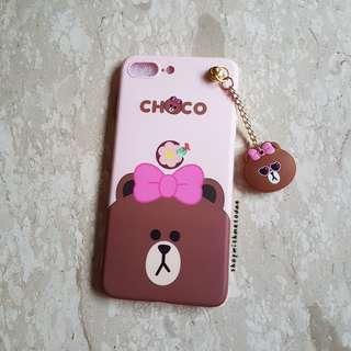 INSTOCK Line Brown Iphone 8 Plus / 7 Plus / 6 Plus casing
