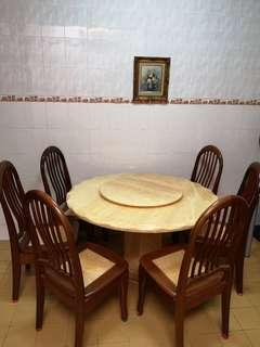 Full marble dining table with six chairs