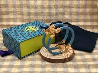 Tory Burch Gemini Link Blue Resin Hinge Cuff Bracelet