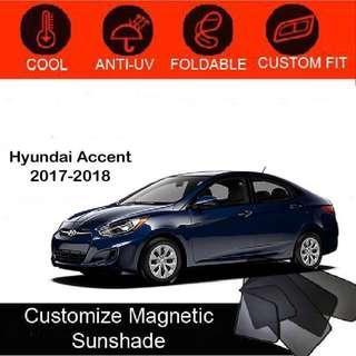 Custom Fit Magnetic Car Sunshade 4 pieces-Hyundai-Accent-2017-2018