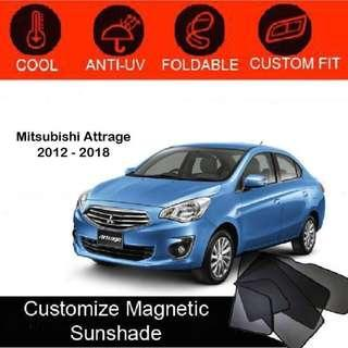 Custom Fit Magnetic Car Sunshade 4 pieces- Mitsubishi Attrage 2012-2018