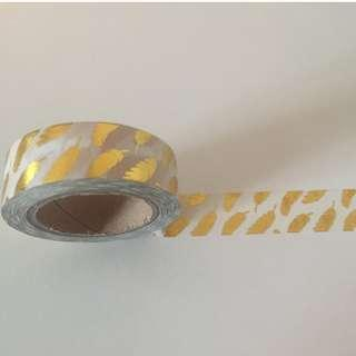 Golden Feathers on White Gloss Ground #QC4476 Washi Tape 15mm x 10m