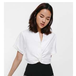 twist front wrap top in white
