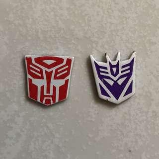 Transformers - 3D Metallic Autobot & Decepticon Diecast Magnetic Logo for MPP10 Optimus Prime / Convoy and MPP36 Megatron (each $3.5 or both for $6.5)