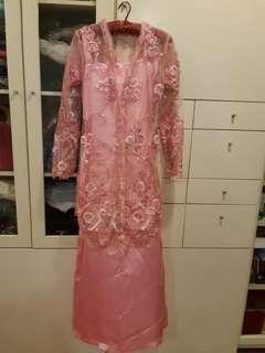 **Exquisite 3D Lace Floral Kebaya Set in Pink