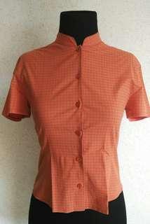 Vintage Mao Collar Button Down Polo