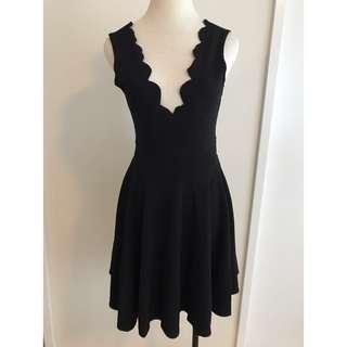 Scallop V-Neck Dress