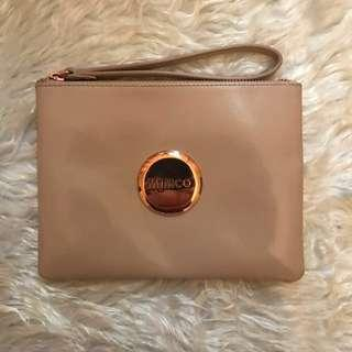 Mimco Medium Patent Leather Pouch in Pancake with Rose Gold Badge