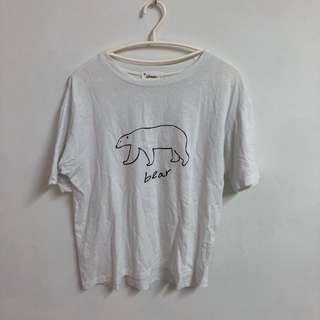 🚚 韓國設計北極熊棉t寬鬆版型上衣
