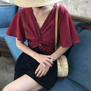 Red V Wrap Top
