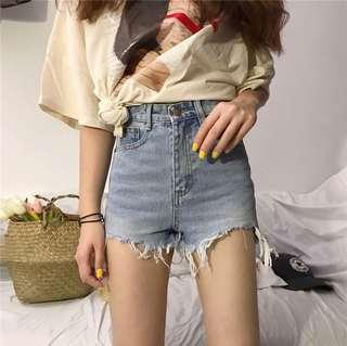 [PO] high waist ripped denim shorts