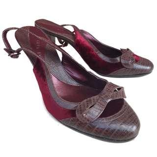 🆕 GIANNI BINI brown leather with red velvet size 6.5