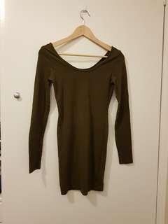 Khaki bodycon dress