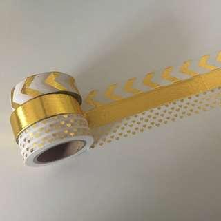 Gold White Combo Pack QC83278 Washi Tapes 15mm x 10m per roll - 3 Rolls in one Combo Pack