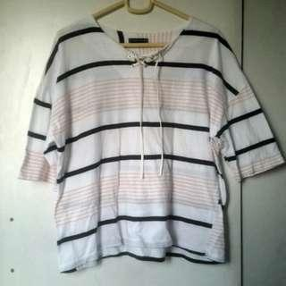 White Korean Top with Black and Pink Stripes