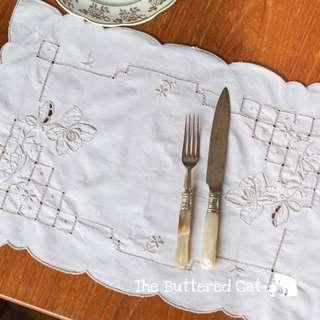 RESERVED Pretty vintage embroidered tray mat, dresser mat