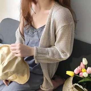 米黃色 杏色 米白色 卡其色 針織開襟外套 罩衫