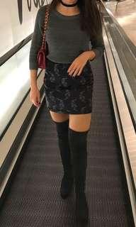 SANDRO / MAJE silk skirt with tiger print