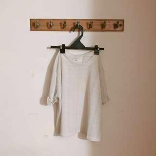 白色針織短版反折鏤空上衣