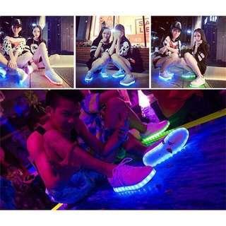 韓版LED充電七彩發光小黑鞋 鬼步舞鞋 防水 25