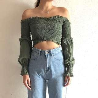 BN Sage Green Ruched Top (UK 4-8)