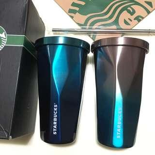 💎Starbucks Stainless Steel Straw Cup Water Matt Bottle 水杯 吸管杯 漸變藍色 紫藍色鑽石飲管杯 Blue Purple Diamond Cup