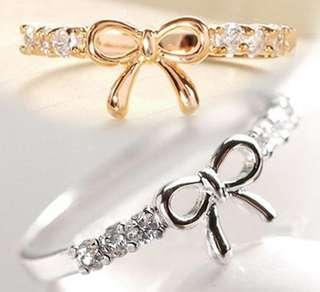 Simple Ribbon Rhinestone Fashion Jewelry Ring