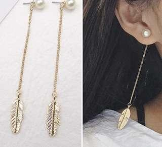 Earrings feather pearl dangling h&m korean forever 21 inspired