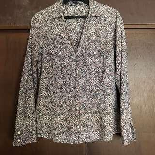 MANGO casual long sleeved printed blouse top