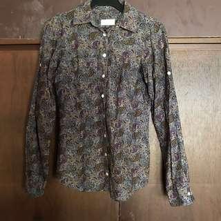 PULL & BEAR paisley printed long sleeved blouse top