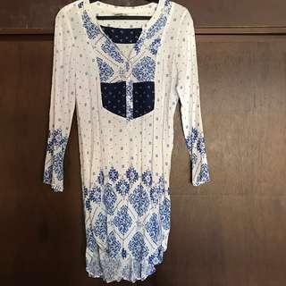 Blue and white boho printed dress