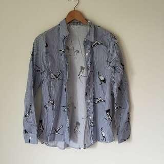 🚚 藍白千鶴圖案襯衫