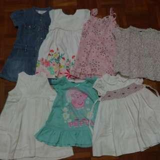 6 Girls Dresses And 1 Top, 2-3yrs