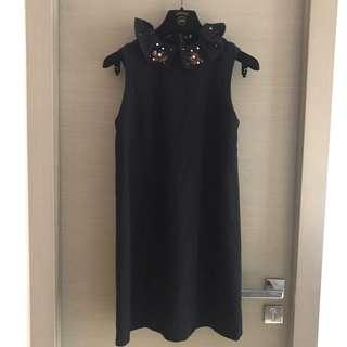 Snidel 荷葉領釘珠黑色連身裙