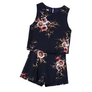 (S) Floral Top & High Waisted Shorts