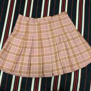 粉紅格紋短裙