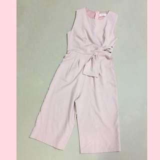 (S) Pink Ruched Front Jumpsuit