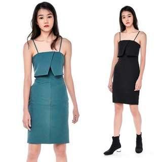 (S) TEM Green Overlay Midi Dress