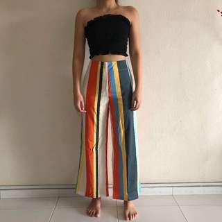 *NEW* Colourblock High-Waist Striped Pants (M, UK 8)