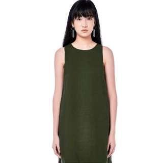 (M- UK10) Olive Sleeveless Shift Dress