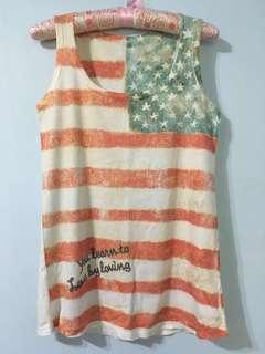 美國國旗印花背心 無袖上衣